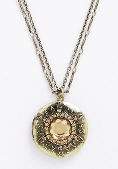 Bursting with Beauty Necklace. An easygoing ensemble comes alive when you fasten this antiqued locket necklace - a ModCloth exclusive - amidst your collar!  #modcloth
