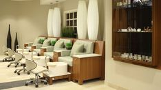Spa Pedicures How the chairs and pedi area or sectioned off with the wall bumpout
