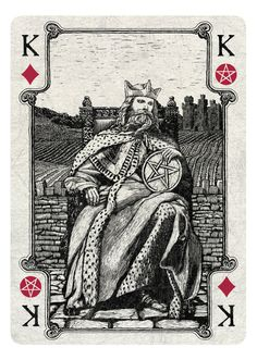 King of Diamonds/Pentacles - light - If you love Tarot, visit me at www.WhiteRabbitTarot.com
