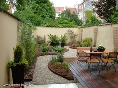 Backyard Patio Design - great use of a small space. Winding path of varying widths enlarges and enhances.