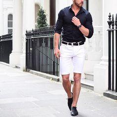 Black shirt, white shorts and black #laceshoes 😎✨ by @rowanrow […