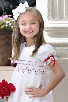smocked red white flower girl dress christmas
