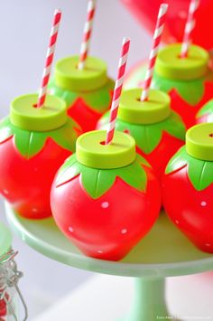 Strawberry cups! Berry Sweet Strawberry Valentine's Day Party with FREE printables! By Kara's Party Ideas for Canon.