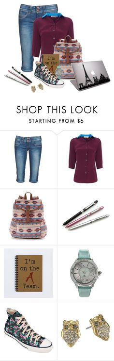 """""""Annabeth's first day of University"""" by charmink ❤ liked on Polyvore featuring Pepe Jeans London, Alexander Lewis, Mudd, MN Watches, Converse and Kate Spade"""