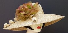 """Kentucky Derby Hat....Large Milan 6"""" Picture/Bronze Rose Kentucky Derby hats for sale"""