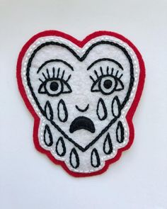 Crying Heart Patch, Hand Embroidered