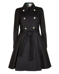 MCKENZY | FLARED SKIRT TRENCH COAT - Black | Jackets & Coats | Ted Baker