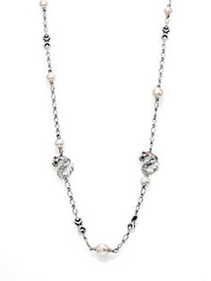 John Hardy - Naga 10.5MM-11MM White Freshwater Pearl, Ruby & Sterling Silver Dragon Sautoir Necklace