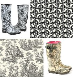Floral Boots and wallpaper combination Toile Wallpaper, Floral Boots, Fashion Wallpaper, Black And White Design, Country Life, Rain Boots, Walls, Design Inspiration, Cottage