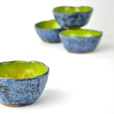 eclectic wabi sabi tea bowls by glazedOver Pottery