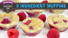 These healthy muffins are made with only 3 ingredients. They're perfect for breakfast or a snack, and couldn't be easier to make. Flourless and sugarless, you can put whatever berries you want inside and make these Healthy Muffin Recipes, Quick Healthy Breakfast, Healthy Muffins, Healthy Treats, Baby Food Recipes, Dessert Recipes, Cooking Recipes, Berry Muffins, Egg Muffins