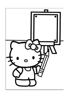Printable Hello Kitty Coloring Pages For Kids. When we first heard Hello Kitty, the first one that occurred in our minds was a cute cat character that was very Hello Kitty Colouring Pages, Cat Coloring Page, Cartoon Coloring Pages, Coloring Pages For Kids, Coloring Books, Images Hello Kitty, Chat Hello Kitty, Hello Kitty Themes, Hello Kitty Desenho