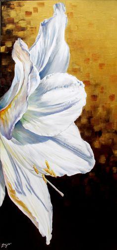 #art #peinture Lys blanc sur un soleil Pascale Juric