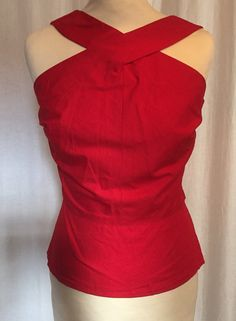 Vintage 1950s inspired red top with unusual cross over neckline
