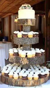 tree stumps, cupcake stands, cupcakes, stump cake, barn weddings