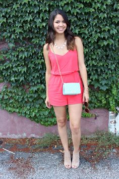 Coral Romper!  http://www.mytrendyheart.com/