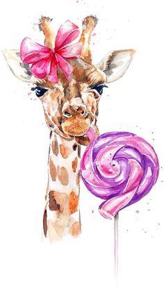 Art Drawings For Kids, Pencil Art Drawings, Animal Drawings, Watercolor Animals, Watercolor Paintings, Walpapper Tumblr, Nursery Drawings, Tableau Pop Art, Giraffe Pictures