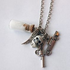Join the hunt with this Supernatural Protection Necklace With Rock Salt, Impala, Colt 45, Angel Wing. Save big and win big with your love just in time for Valentine's Day when you use coupon code WITHLOVE to receive 20% off of $20 or more! Link in bio! #etsy #etsyseller #jewelryofinstagram #necklace #madeintexas #instafam #handmadewithlove #madeinamerica #etsysellersofinstagram #supernatural #spn #j2m