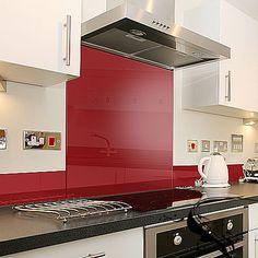 Deep red kitchen splashback from #Gekoglass