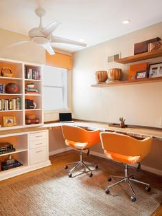 orange, home office, desk chairs, work desk, laptop, ceiling fan, wood floor, rug, shelving, home decor, window, lighting, Photo courtesy of http://www.hgtv.com/