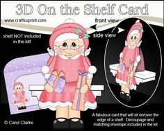 3D On the Shelf Card Kit Christmas Mrs Claus Presents on Craftsuprint - View Now!