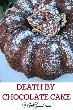 Death by Chocolate cake is a super moist cake that starts with a boxed cake and 3 different kinds of chocolate. I did change the original recipe by adding espresso powder...the espresso powder helps to enhance the chocolate in the cake.