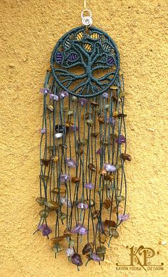 """Micro macrame charm """"Tree of life"""", amulet for the home. Amethyst, tiger eye, and labradorite stones."""