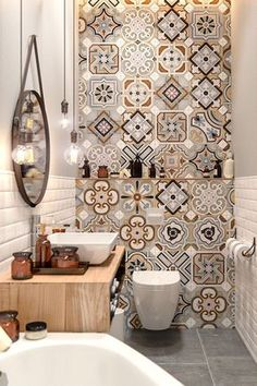 Small Master Bathroom Decor on a Budget www. Small Master Bathroom Decor on a Budget www.onechitecture… Small Master Bathroom Decor on a Budget www. Diy Bathroom Decor, Bathroom Colors, Bathroom Interior Design, Colorful Bathroom, Mosaic Bathroom, Bathroom Remodeling, Moroccan Tile Bathroom, Budget Bathroom, Bathroom Lighting