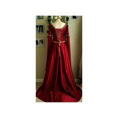 Renaissance Dresses ❤ liked on Polyvore featuring dresses, renaissance style dresses, red dress, red renaissance dress and renaissance dresses