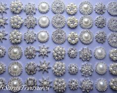 Items similar to SALE - 18 Large Assorted Rhinestone Embellishment Metal Flatback Button Pearl Crystal Button Hair Clip Brooch Bouquet Jewelry Supplies on Etsy Hair Comb Clips, Wedding Brooch Bouquets, Crystal Snowflakes, Crystal Wedding, Jewelry Supplies, Embellishments, At Least, Etsy, Pearls