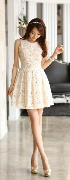 Beige Bodycon Lace Skater Dress