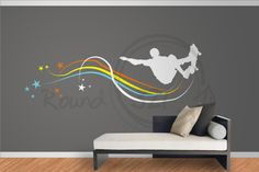 Skateboard Decal With Stars  For Walls- Decorative Decal With Boy On Skateboard -. $75.00, via Etsy.