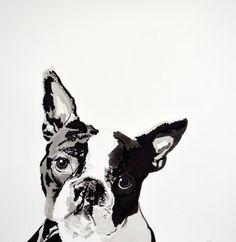 "Ink and Brush Drawing on Watercolor Paper Boston Terrier 8"" x 10"" Print  www.christinahewson.com  www.christinahewson.blogspot.com"