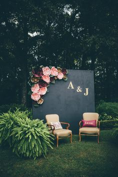 Flower-embellished photo wall from this glam garden wedding | Image by Amber Phinisee