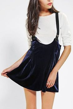 UNIF Dropout Velvet Overall Skirt