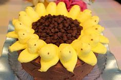 Maybe Easter dessert this year?? So cute! :) Sweet Tea and Cornbread: Sunflower Peeps Cake...Chocolate Mayonnaise Cake with Chocolate Cream Cheese Frosting!