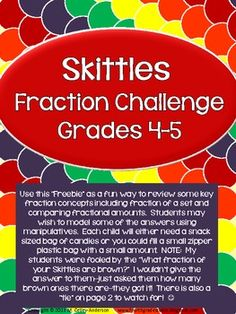 Use this Freebie as a fun way to review some key fraction concepts including fraction of a set and comparing fractional amounts--key elements in the Common Core. Students may wish to model some of the answers using manipulatives. Each child will either need a snack sized bag of candies or you could fill a small zipper plastic bag with a small amount.