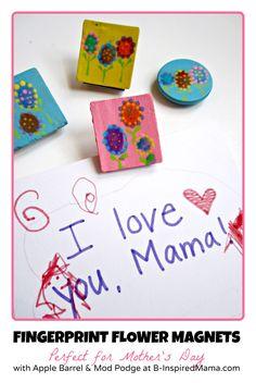 Kids Fingerprint Flower Magnets perfect for Mother's Day from B-InspiredMama.com
