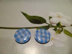 Boutons Couture Vichy Bleu et Blanc 12 mm