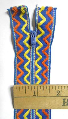 Vintage Quick Blue Yellow Orange embroidered zig zag 60s mod  #Vintage #Quick #Blue #Yellow #Orange #embroidered #zigzag #60s #mod #dress 22 inch #zipper #Geometric #chevron #ribbon #supplies #clothing #sewing #craft #etsy #studio