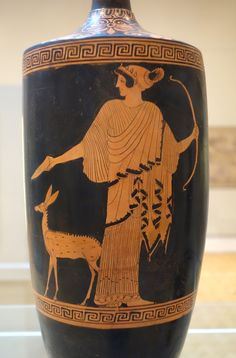 "lionofchaeronea: "" Artemis, holding her bow and accompanied by a fawn, pours a libation. Attic red-figure lekythos, attributed to the Oreithyia Painter; Now in the Chazen Museum of Art,. Ancient Egyptian Art, Ancient Greece, Ancient History, Art History, European History, Ancient Aliens, American History, Greek Pantheon, Egyptian Goddess"