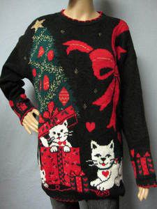 cat in a box Christmas sweater