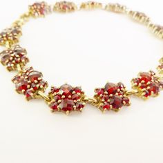 Stunning Vintage Natural Rose Cut Bohemian Garnet Bracelet Gold Vermeil on Silver - Assay Marks - Stock Number: by rubyandjules on Etsy Garnet Bracelet, Austro Hungarian, Bohemian Jewellery, Unique Jewelry, Number, Handmade Gifts, Rose, Natural, Bracelets