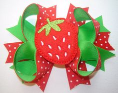 STRAWBERRY Girls Hair Bow Strawberry Baby Bow by bowtowne on Etsy