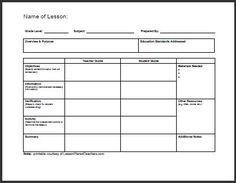 Lesson Plan Template   Teaching Ideas    Lesson Plan