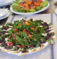 Carol Cotner Thompson: Heirloom Tomato Salad with Tapenade Toasts and Goat Cheese