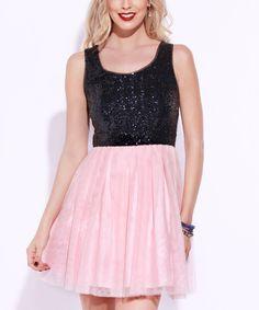 This Josh & Jazz Navy & Blush Sequin Fit & Flare Dress by Josh & Jazz is perfect! #zulilyfinds