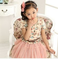 Children's clothing 2014 kid apparel girls short-sleeve dress summer clothing child princess yarn girl party dress girl dresses US $6.80 - 9.80