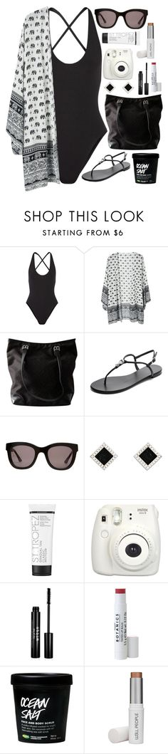 """""""Black and white beach outfit"""" by mollymsniffles ❤ liked on Polyvore featuring Proenza Schouler, Bally, Giuseppe Zanotti, Wonderland, Yvel, St. Tropez, Fujifilm, Stila and W3LL People"""