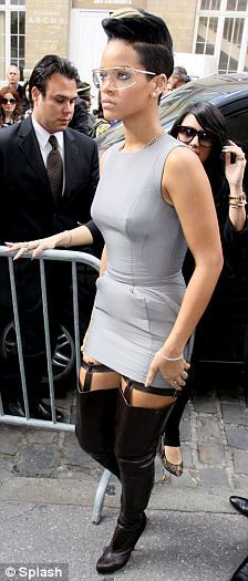 Rihanna dazzled in a grey minidress and thigh-high leather boots at the Hussein Chalayan fashion show in Paris. High Fashion, Fashion Show, Hussein Chalayan, Russell Brand, Paris Shows, Katy Perry, Suspenders, Thigh Highs, Rihanna